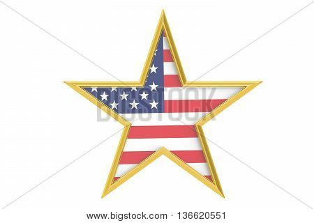 USA holiday concept stars with USA flag 3D rendering isolated on white background