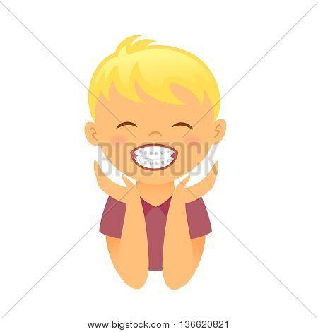 Children braces smiling boy. Editable vector illustration