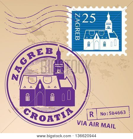 Stamp set with words Zagreb, Croatia inside, vector illustration