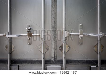 Truck back door locked with a key for logistic industry
