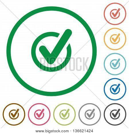 Set of Checked data color round outlined flat icons on white background