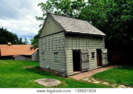 Ephrata Pennsylvania June 6 2015: The House holder Exhibit cabin at the historic 18th century Ephrata Cloister Germanic religious settlement