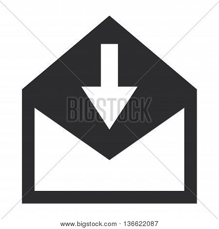 simple flat design envelope with arrow downwards icon vector illustration