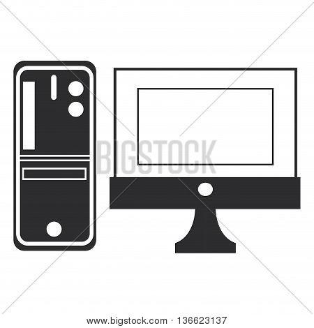 simple flat design desk computer icon vetor illustration