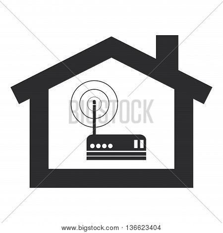 simple flat design wi-fi router inside house modem icon vector illustration