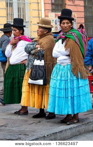 La Paz Bolivia-March 24 2015: Bolivian women in traditional clothes on the street La Paz.