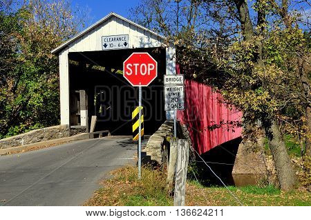 Goodville Pennsylvania - October 19 2015: Conestoga River Covered Bridge