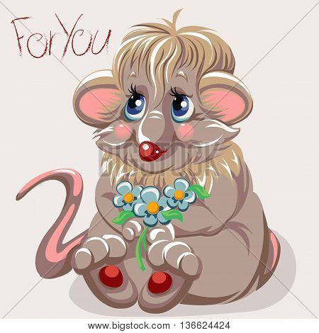 vector illustration in EPS format cartoon mouse with a small bouquet of daisies and a signature for you
