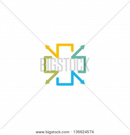 Isolated blue, yellow and green color cross vector logo, Medical sign contour logotype. Hospital symbol on the white background. Religious icon. Arithmetic plus sign