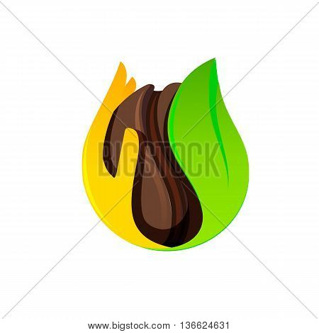 Isolated brown coffee bean in a hand and leaf vector logo. Cafe symbol. Morning energetic drink logotype. Dark seed vector illustration on the white background