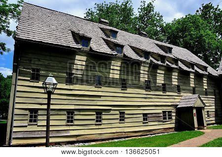 Ephrata Pennsylvania June 6 2015: Wooden 1743 Saron or Sisters' House at the historic Ephrata Cloister Germanic religious settlement *