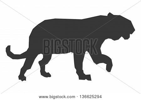simple flat design big wild feline silhouette icon vector illustration