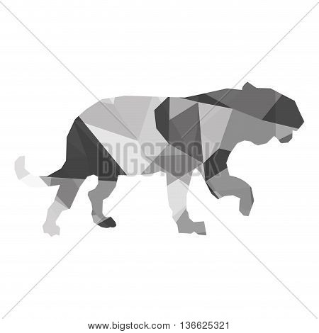 geometric texture simple flat design big wild feline silhouette icon vector illustration