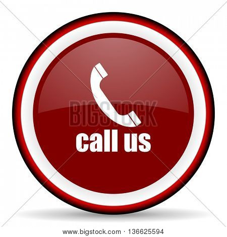 call us round glossy icon, modern design web element
