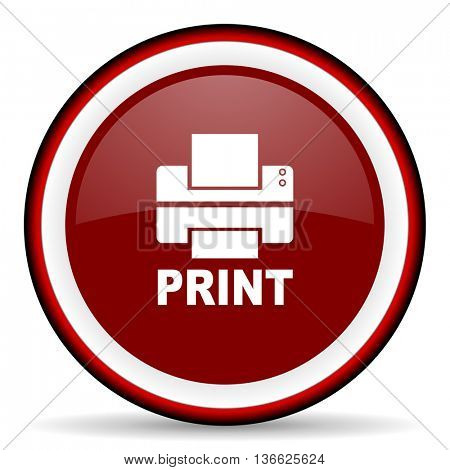 printer round glossy icon, modern design web element
