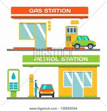 Gas and petrol station concept car at a gas station urban landscape vector illustration