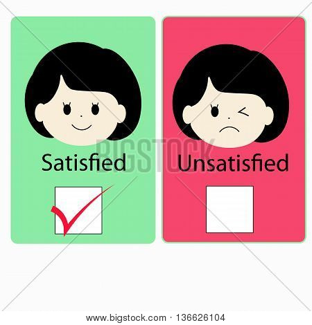 satisfied girl versus dissatisfied girl with checkbox