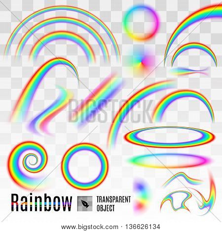 Rainbow set elements wave and circle isolated