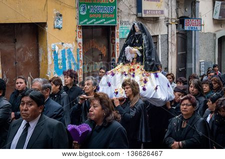 Good Friday Procession In La Paz, Bolivia.