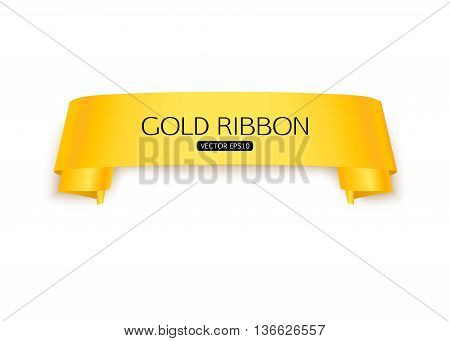 Gold ribbon isolated on white background vector banner template