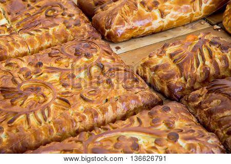 Kulebyaka cabbage pie close up. Russian cuisine