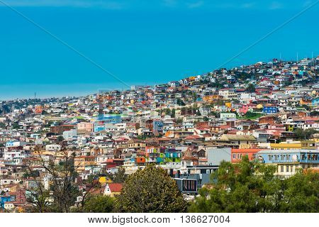 View of houses on Valparaiso hills Chile