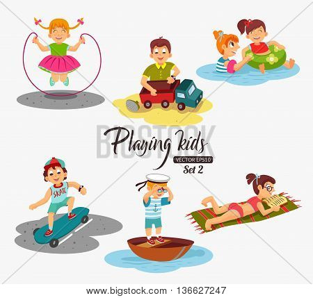 Cartoon kids playing. Boy playing with a toy car, rides skateboard, swim in the boat, looking through binoculars. Girl jumping rope, swimming, reading a book. Vector eps 10 format.