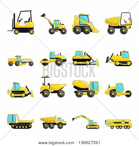 Set of construction machinery isolated flat icons, vector eps 10 format.