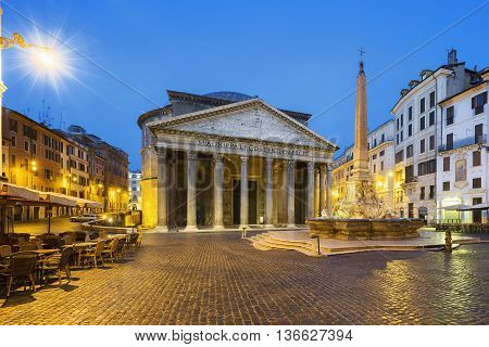 View of Pantheon by night Rome Italy Europe