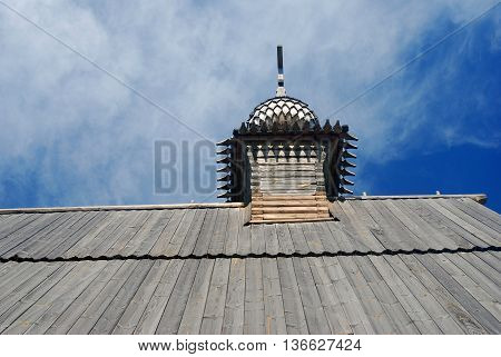 Wooden church in Ples town, popular touristic landmark famous by its landscapes. Ples is situated on the Volga river