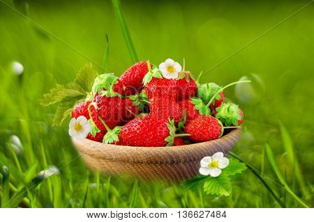 Wooden bowl filled with strawberries on grass