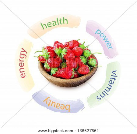 bowl with strawberries infographics. Fresh and useful berry.