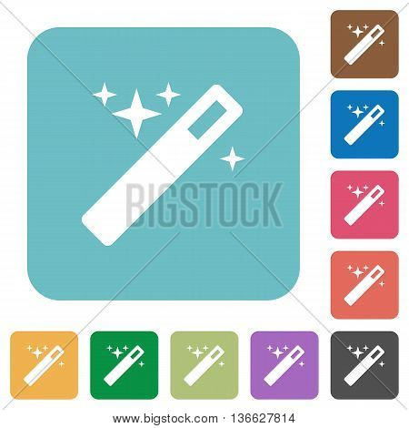 Flat magic wand icons on rounded square color backgrounds.