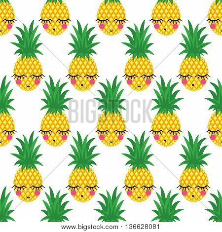 Seamless pattern with smiling sleeping pineapples for kids holidays. Vector pineapple background. Cute summer fruit illustration. Exotic summer concept. Cute bright baby shower vector background.