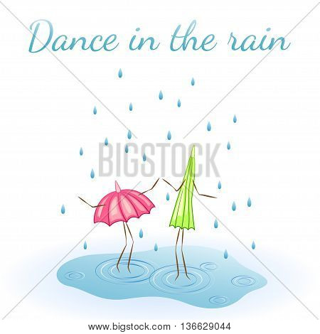 Two umbrellas. Dance in the rain. Vector illustration