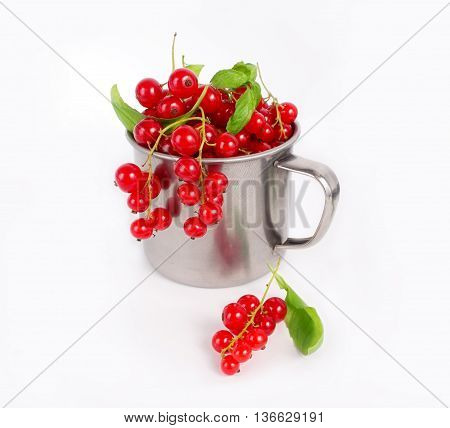 Fresh summer berries. Ripe redcurrant. Berries on white background
