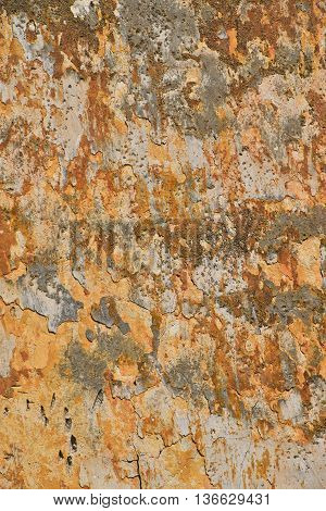 Dirty Wall With Peeling Plater And Rusty Stains