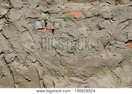 Cement Plastering Layer On Brick Wall