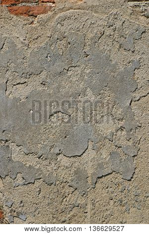 Old Grey Unpainted Plaster Wall With Cracks
