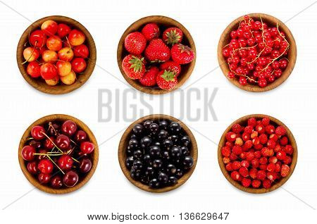 Set various berries. Strawberries currant cherry. Collage of different fruits and berries isolated on white. Ripe and tasty berry.