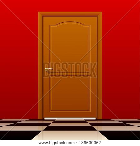Brown closed door with red wall and glossy chess floor. Interior concept design. Vector illustration