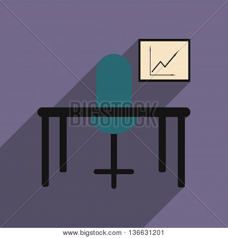 Flat with shadow icon office desk chair chart