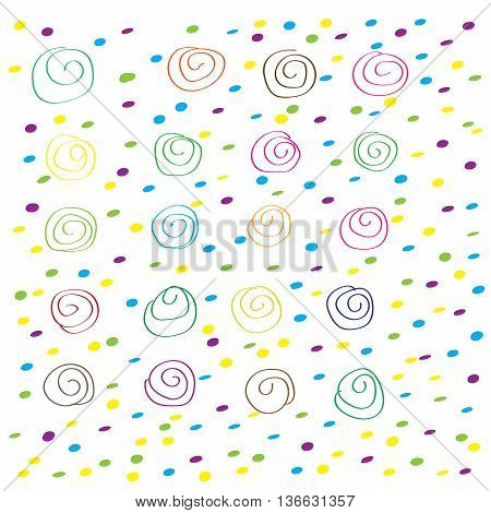 Set of multicolored spirals and dots on white background