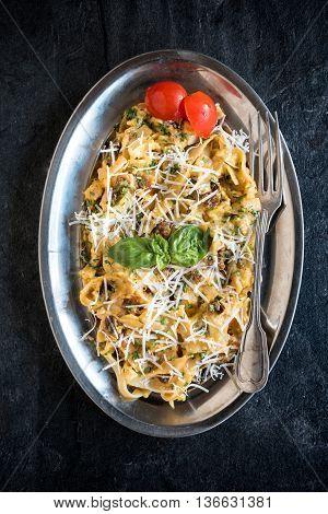 Served Pasta Carbonara