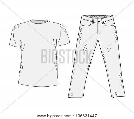 T-shirt and jeans sketch set. Things in the style of hand drawing. Clothing casual style. T-shirt and jeans mockup. Vector illustration