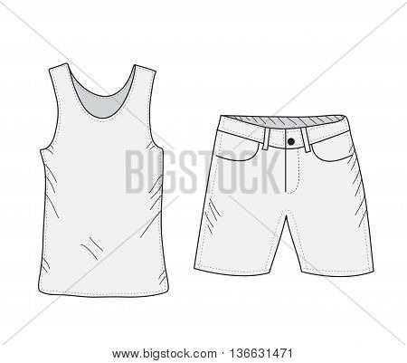 T-shirt and shorts sketch set. Things in the style of hand drawing. Summer clothes casual style. Tank top and shorts mockup. Vector illustration