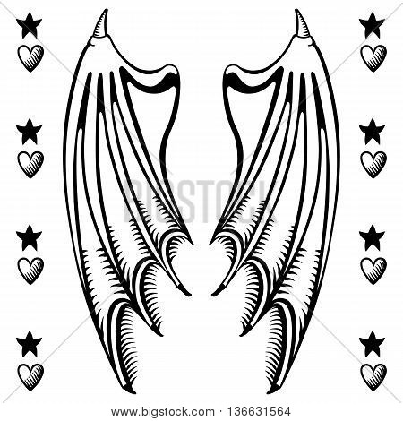 Vector illustration of devil's wings isolated on white background vector illustration. T-shirt design