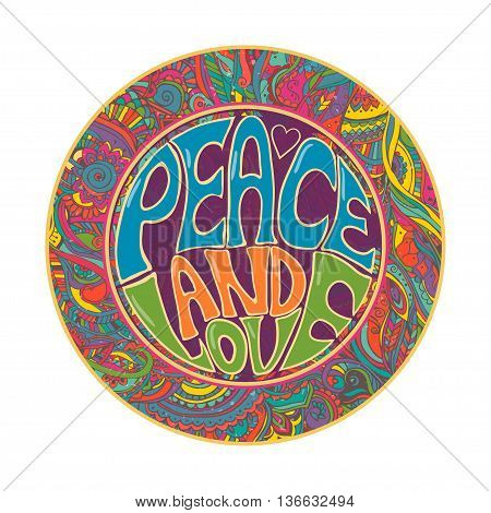Hippie style. Ornamental retro background Love and Music with hand-written fonts hand-drawn doodle background and textures Hippy color vector illustration. Retro 1960s, 60s, 70s. We love hitchhiking