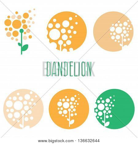 Set of concept abstract logo dandelions. Vector illustration