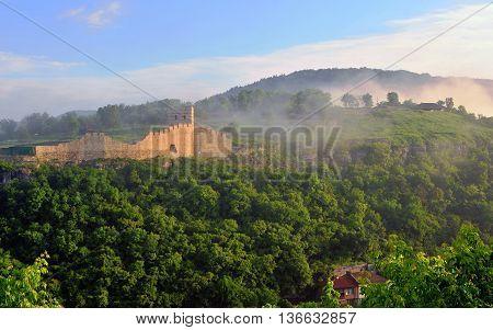 Medieval castle in Veliko Tarnovo. Beautiful bulgarian destination on the daybreak